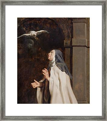 Teresa Of Avilas Vision Of A Dove Framed Print by Peter Paul Rubens