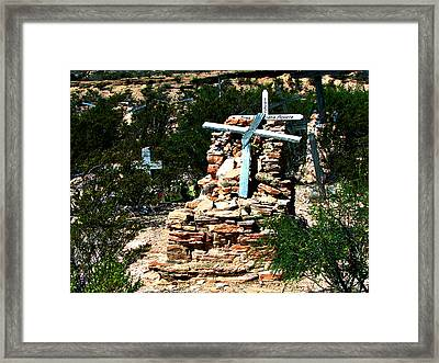 Framed Print featuring the photograph Terlingua Cross by Linda Cox