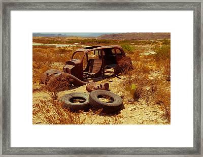 Terlingua Tires Framed Print by Sonja Quintero