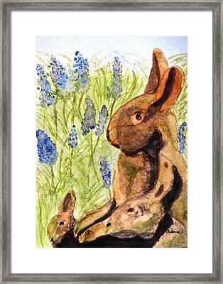 Terra Cotta Bunny Family Framed Print by Angela Davies