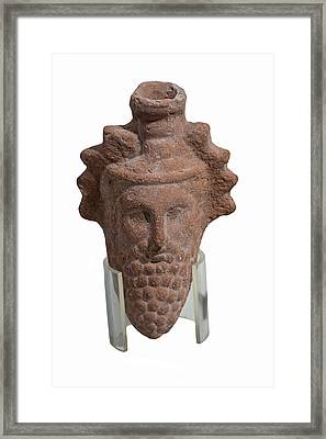 Terra-cotta Dionysus Head Flask Framed Print by Photostock-israel