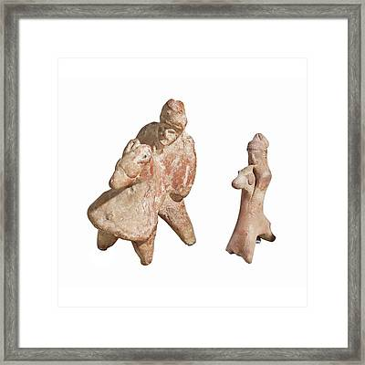 Terra-cotta Horse And Rider Statuettes Framed Print by Photostock-israel
