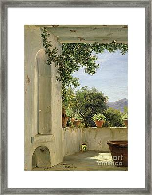 Terrace In Sorrento Framed Print by Thomas Fearnley
