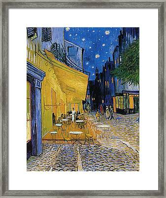 Terrace Of A Cafe At Night Framed Print by Vincent van Gogh