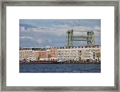 Terraced Houses And Koninginnebrug In Rotterdam Framed Print