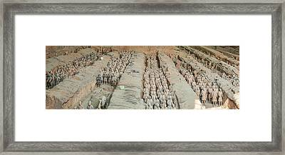 Terracotta Warriors And Horses, Xian Framed Print by Panoramic Images