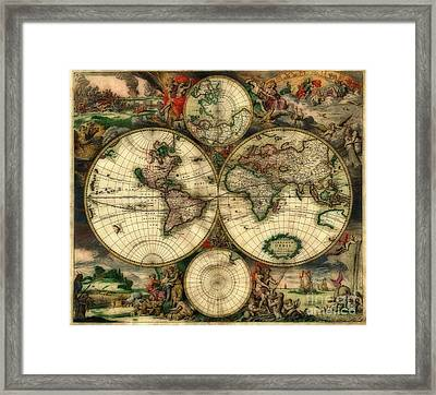 Terrarum Orbis Old World Map  Framed Print by Inspired Nature Photography Fine Art Photography