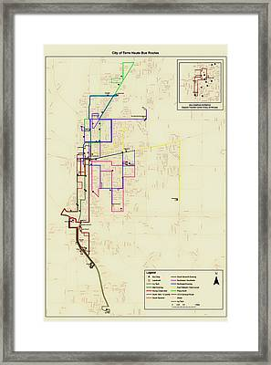 Terre Haute Indiana Bus Routes Map Framed Print by Mountain Dreams