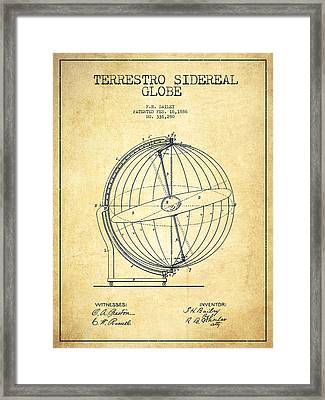 Terrestro Sidereal Globe Patent Drawing From 1886 -vintage Framed Print
