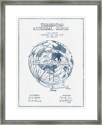 Terrestro Sidereal Globe Patent From 1886- Blue Ink Framed Print