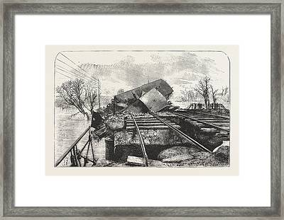 Terrible Railway Accident In Alsace, Caused By The Fall Framed Print by French School