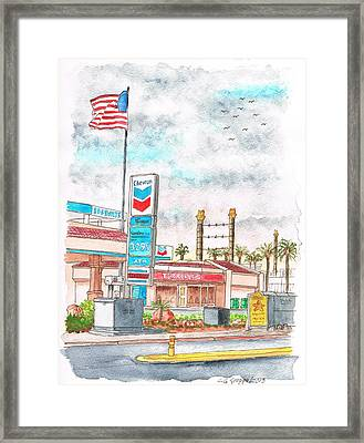 Terribles Chevron Gas Station In Laughlin - Nv Framed Print by Carlos G Groppa