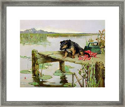 Terrier - Fishing Framed Print