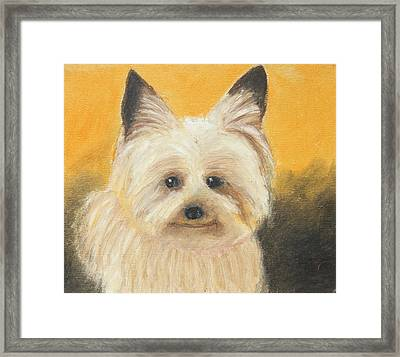 Framed Print featuring the painting Terrier by Jeanne Fischer