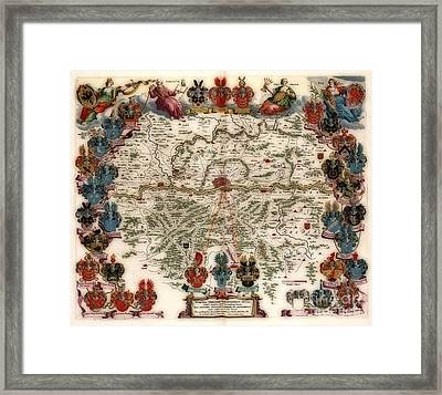 Territories Vintage Map Framed Print by Inspired Nature Photography Fine Art Photography