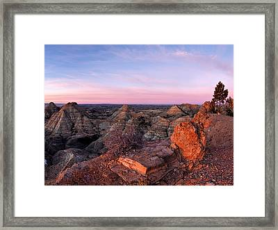 Terry Badlands Sunrise Framed Print by Leland D Howard