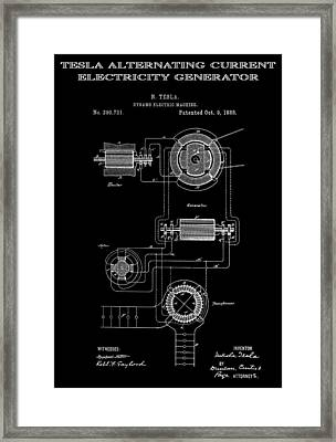 Tesla Alternating Current 2 Patent Art 1888 Framed Print by Daniel Hagerman