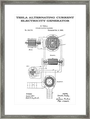 Tesla Alternating Current Patent Art 1888 Framed Print by Daniel Hagerman