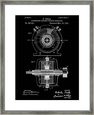 Tesla Alternating Electric Current Generator Patent 1891 - Black Framed Print