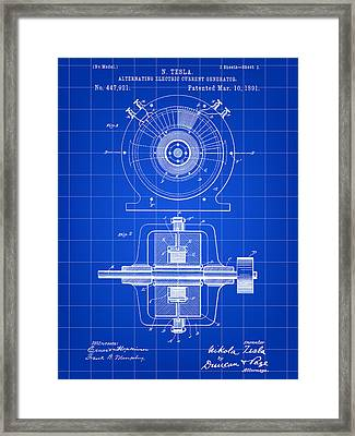 Tesla Alternating Electric Current Generator Patent 1891 - Blue Framed Print