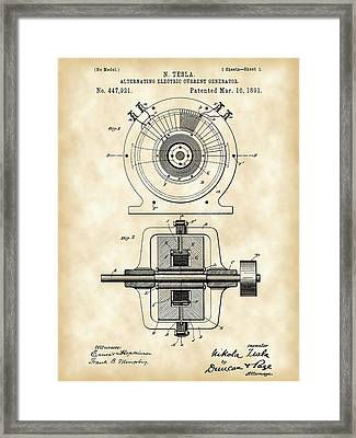 Tesla Alternating Electric Current Generator Patent 1891 - Vintage Framed Print by Stephen Younts