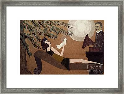 Tesla And White Dove Framed Print