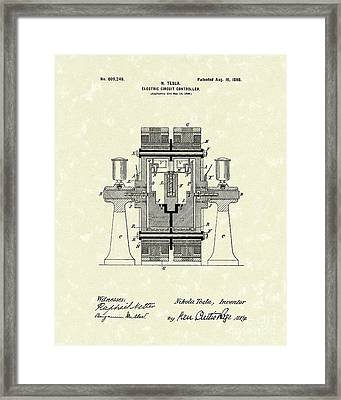 Tesla Electric Circuit 1898 Patent Art Framed Print by Prior Art Design