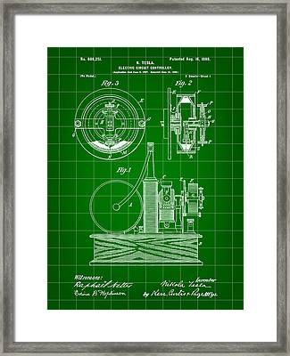 Tesla Electric Circuit Controller Patent 1897 - Green Framed Print by Stephen Younts