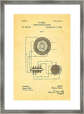 Tesla Electric Dynamo Patent Art 1888 Framed Print by Ian Monk