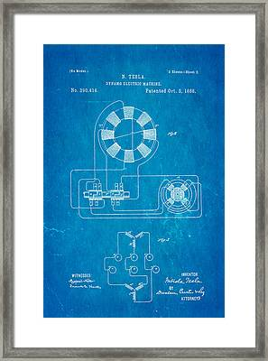 Tesla Electric Dynamo Patent Art 2 1888 Blueprint Framed Print by Ian Monk