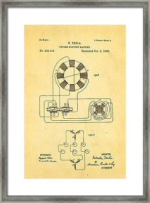Tesla Electric Dynamo Patent Art 2 1888 Framed Print by Ian Monk