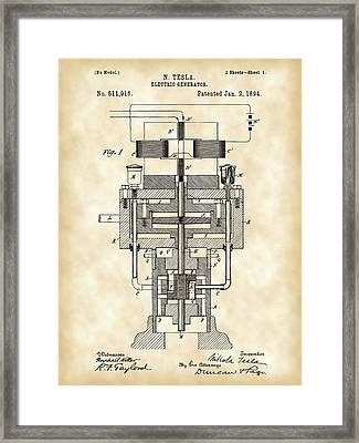 Tesla Electric Generator Patent 1894 - Vintage Framed Print by Stephen Younts