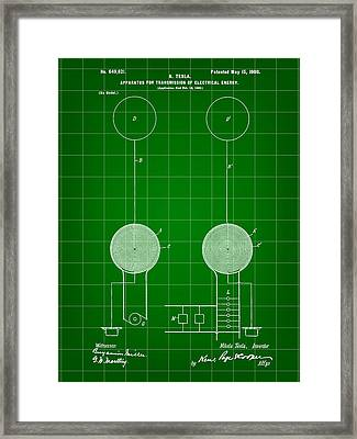Tesla Electric Transmission Patent 1900 - Green Framed Print by Stephen Younts