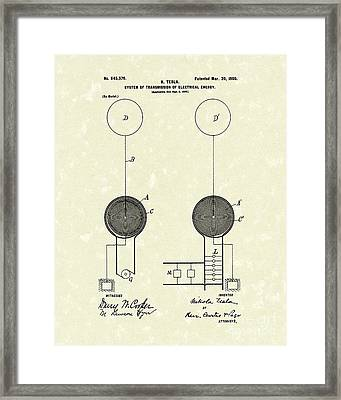 Tesla Electrical System 1900 Patent Art Framed Print