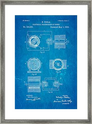 Tesla Electrical Transmission Of Power Patent Art 2 1888 Blueprint Framed Print