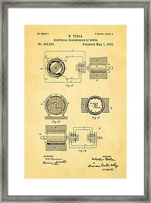 Tesla Electrical Transmission Of Power Patent Art 2 1888 Framed Print