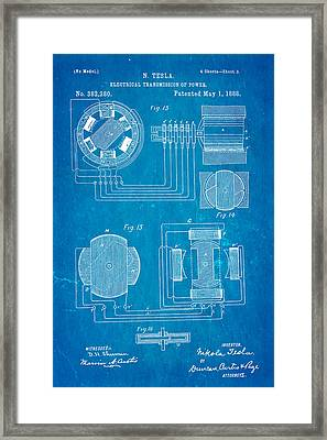 Tesla Electrical Transmission Of Power Patent Art 3 1888 Blueprint Framed Print