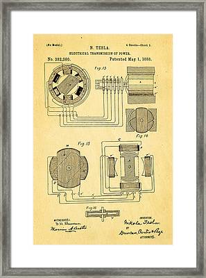 Tesla Electrical Transmission Of Power Patent Art 3 1888 Framed Print