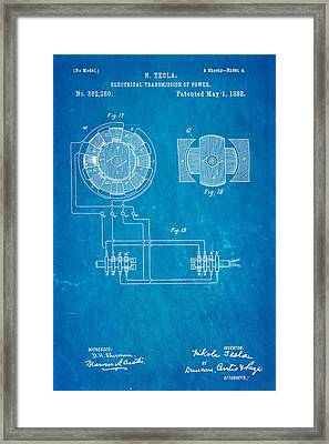 Tesla Electrical Transmission Of Power Patent Art 4 1888 Blueprint Framed Print by Ian Monk