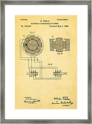 Tesla Electrical Transmission Of Power Patent Art 4 1888 Framed Print by Ian Monk