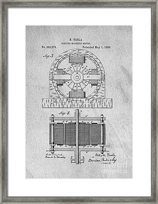 Tesla Electro Magnetic Motor Patent 1888 Framed Print by Edward Fielding