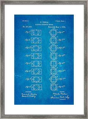 Tesla Electro Magnetic Motor Patent Art 1888 Blueprint Framed Print by Ian Monk