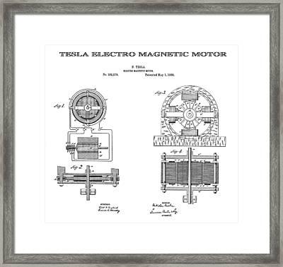 Tesla Electro Magnetic Motor Patent Art  1888 Framed Print