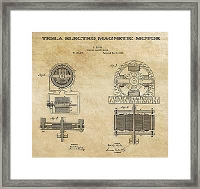 Tesla Electro Magnetic Motor Patent Art Aged 1888 Framed Print