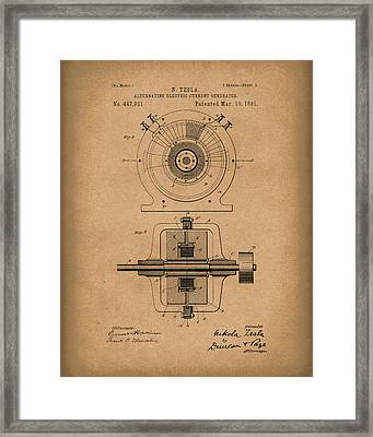 Tesla Generator 1891 Patent Art  Brown Framed Print