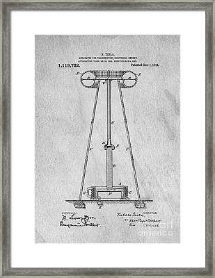 Tesla Patent For Transmitting Electrical Energy 1914 Framed Print by Edward Fielding