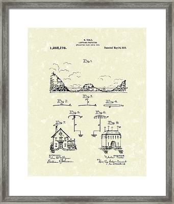 Tesla Protector 1918 Patent Art Framed Print by Prior Art Design