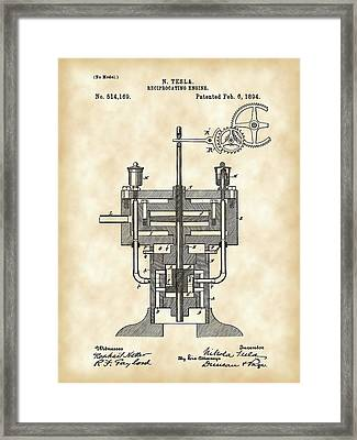 Tesla Reciprocating Engine Patent 1894 - Vintage Framed Print