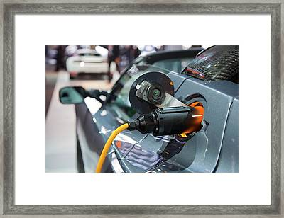 Tesla Roadster Electric Sports Car Framed Print by Jim West