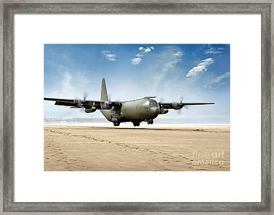 Test Landing By A C-130 Mk3 Hercules Transport Aircraft Framed Print